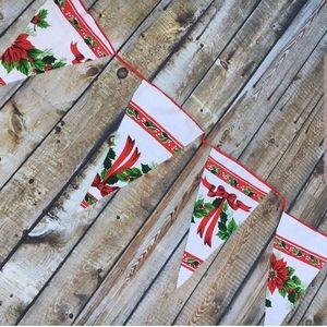 Vintage Christmas Tablecloth Bunting